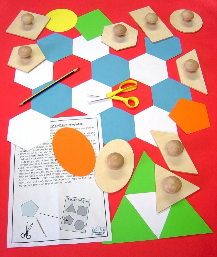 Wooden Geometry Templates - Assorted - Pack of 9