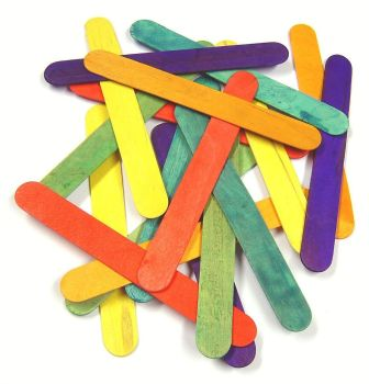 Jumbo Coloured Wooden Craft/Lolly Sticks - 15 x 18mm - Pack of 100