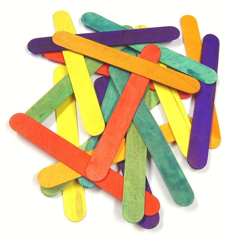 Wooden Jumbo Coloured Craft/Lolly Sticks - 15 x 18mm - Pack of 100