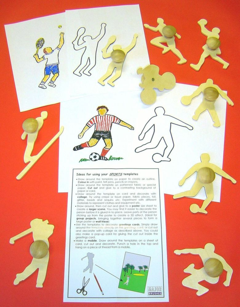 Wooden Sports Templates - Assorted - Pack of 9