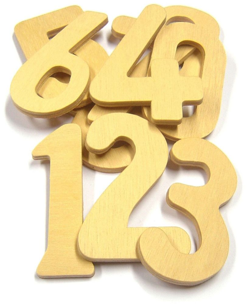 Wooden Numbers 0-9 - Assorted - Pack of 10