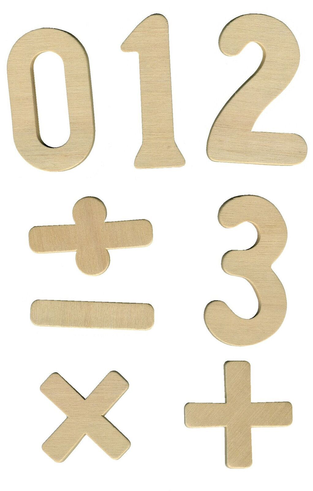 Wooden Numbers & Symbols - Assorted - Pack of 42