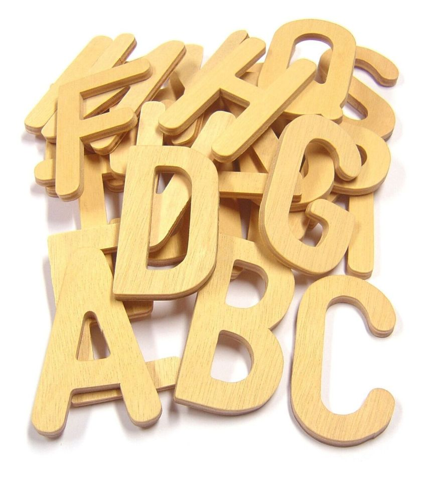 Wooden Upper Case Letters - Assorted - 8 x 6.5cm - Pack of 26