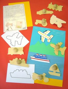 Transport Wooden Templates - Assorted - 14cm - Pack of 9