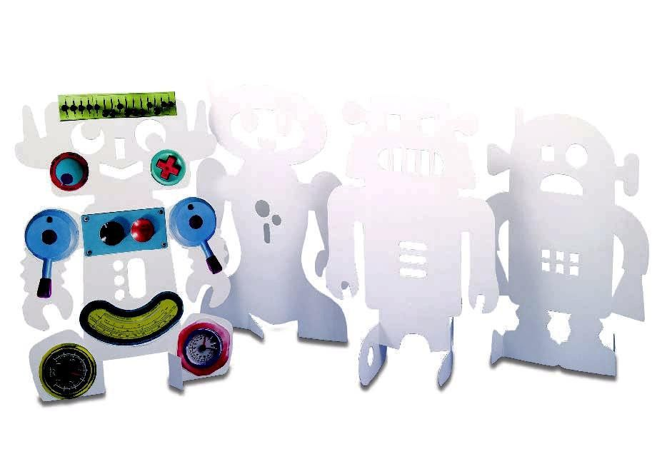 Stand-Up Card Robots - Assorted - 21.5 x 28cm - Pack of 24