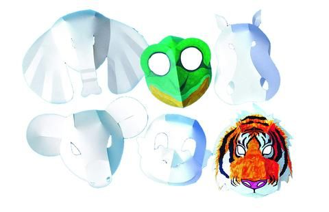 Wild Animal Fold-Up Masks - Assorted - 42 x 29cm - Pack of 30