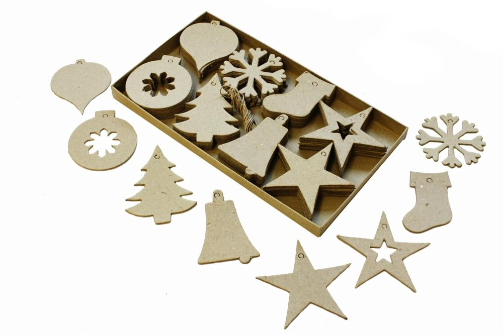 Christmas Cut-Out Shapes - Assorted - 8-10cm - Pack of 80