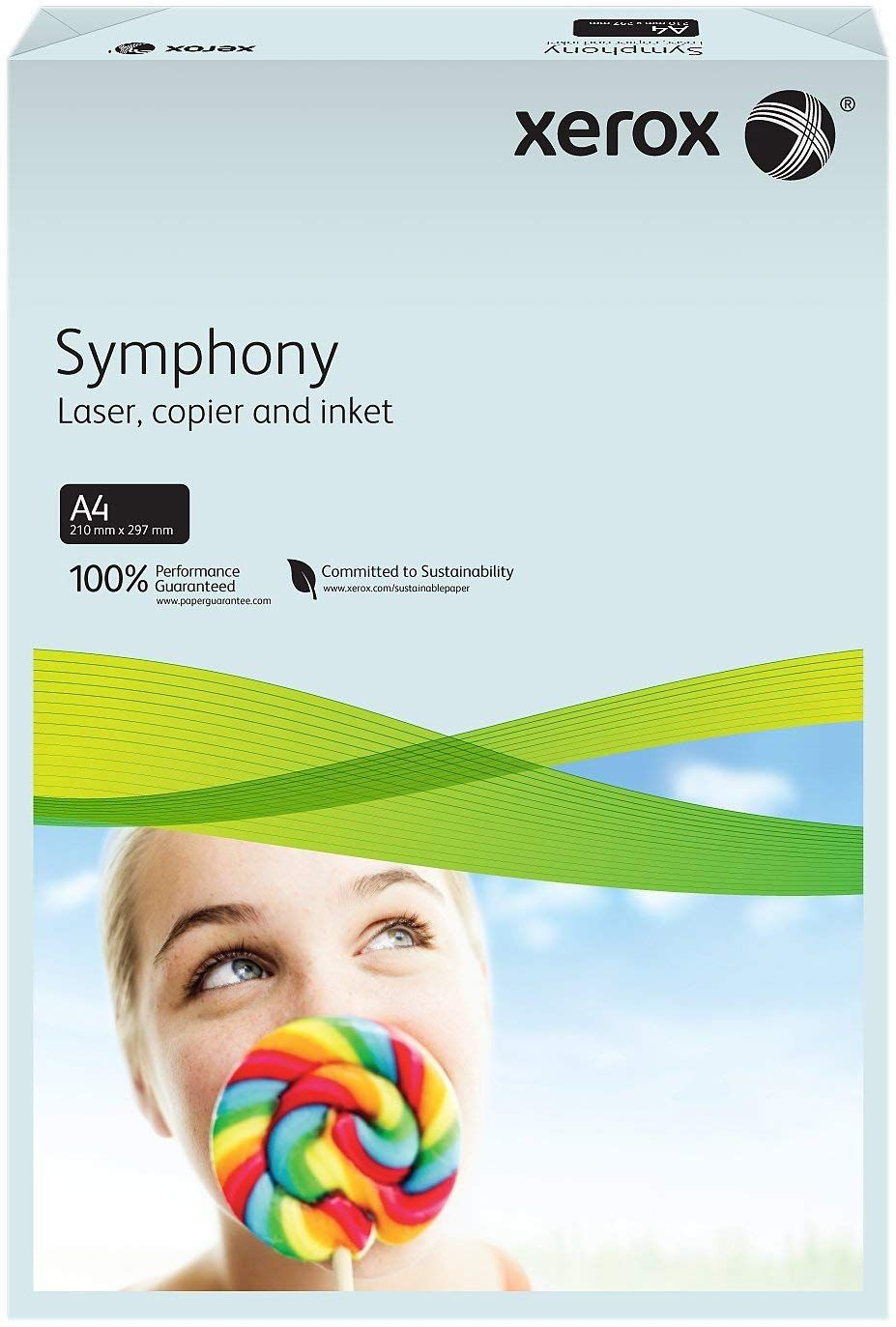 A4 Xerox Symphony Pastel Blue Paper - 80gsm - 210 x 297mm - Pack of 500