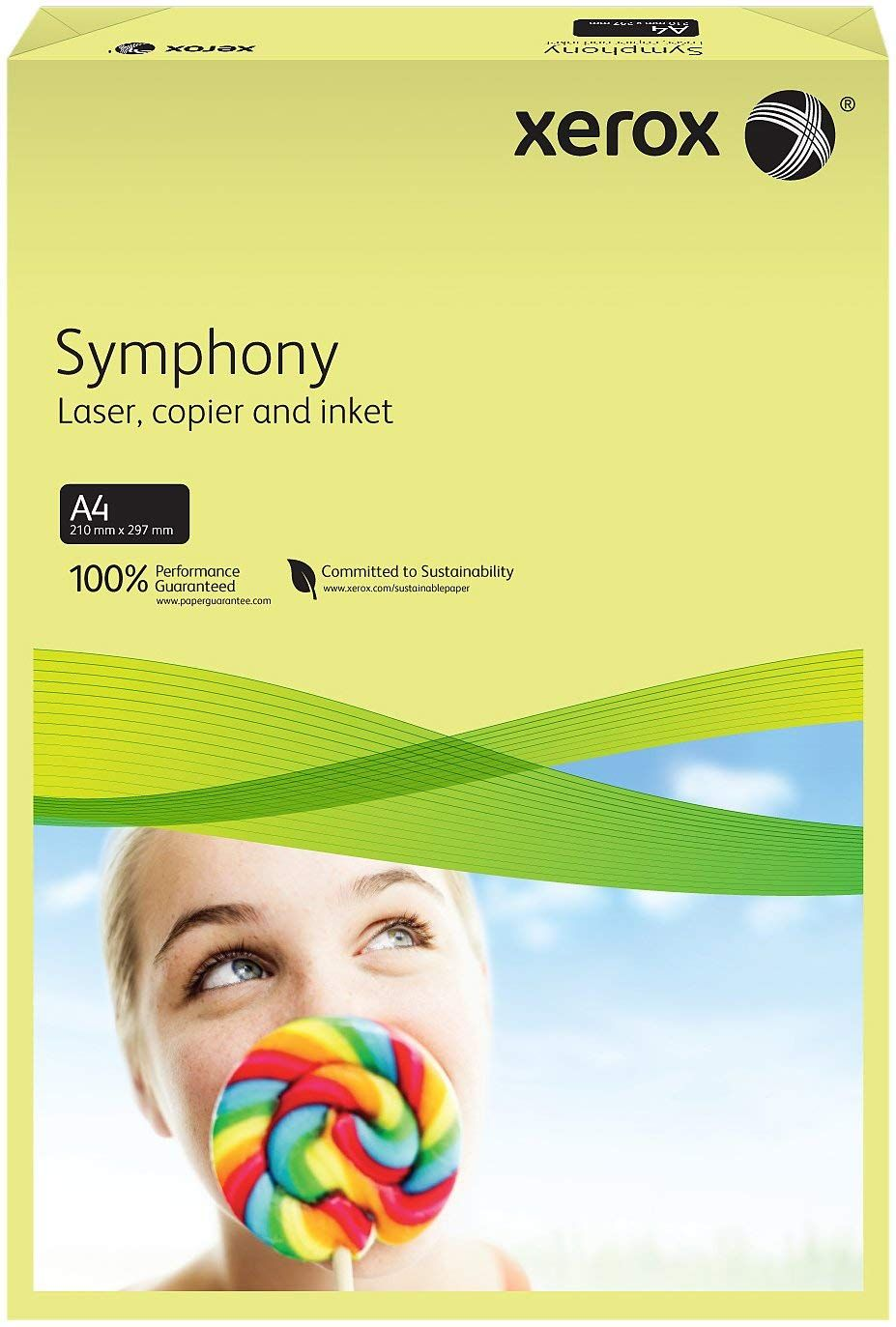 A4 Xerox Symphony Pastel Yellow Paper - 80gsm - 210 x 297mm - Pack of 500
