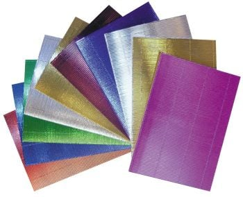 Metallic A4/297 x 210mm Micro Flute Corrugated Sheets - Assorted - 71595 - Pack of 10