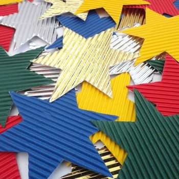 Corrugated Star Shapes - Assorted - Pack of 50