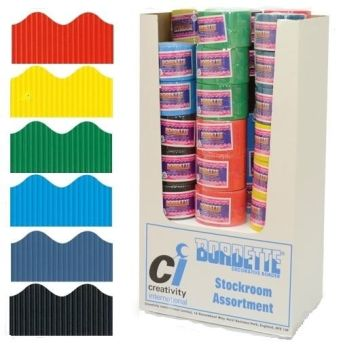 Bordette Corrugated Scalloped Border Rolls Stockroom Pack 1 - Assorted - 57mm x 7.5m - Pack of 72