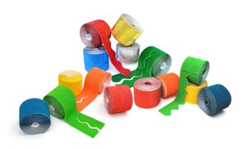 Bright Corrugated Border Rolls Pack  - Assorted Edges & Colours - 57mm x 5m - Pack of 30