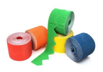 Bright Zig-Zag Corrugated Border Rolls - Assorted - 57mm x 5m - Pack of 10