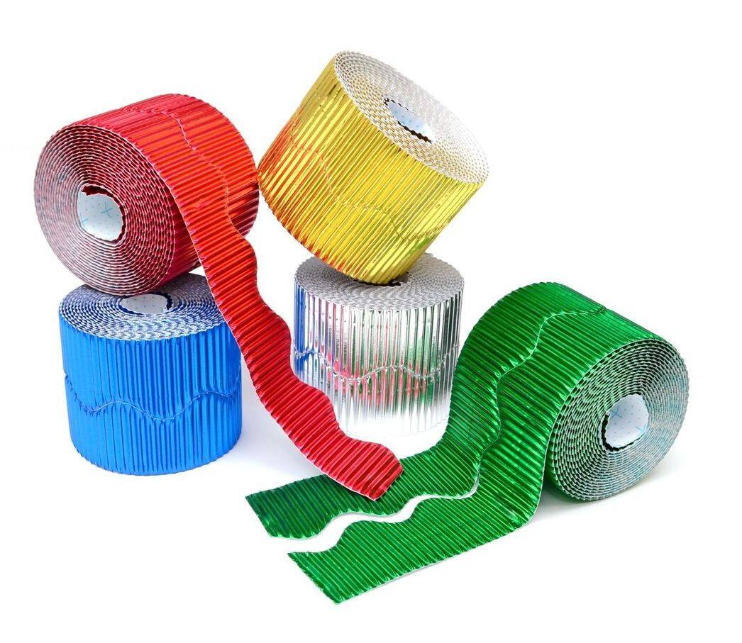 Metallic Scalloped Corrugated Border Rolls - Assorted - 57mm x 5m - Pack of
