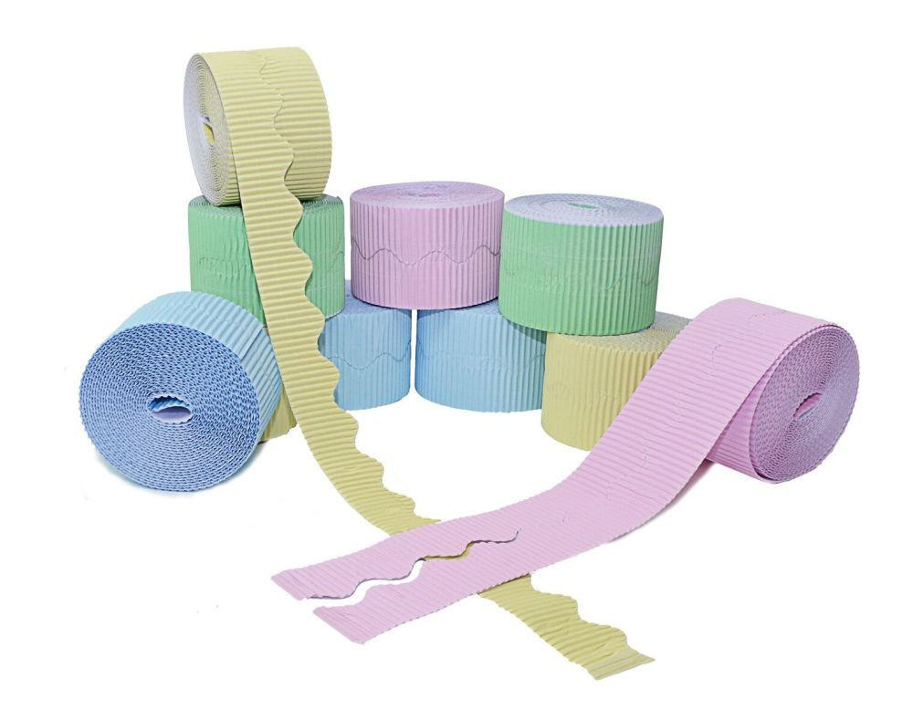 Pastel Corrugated Scalloped Border Rolls - Assorted - 57mm x 7.5m - Pack of