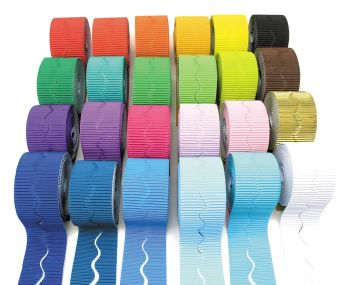 Corrugated Scalloped Border Rolls - Please Select Colour - 57mm x 5/7.5m - Pack of 2