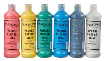Classmates Washable Ready Mixed Paint - Assorted - 6 x 600ml - HE1546416 - Pack of 6
