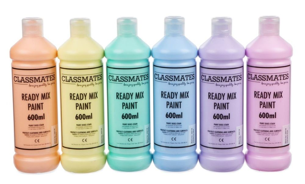 Classmates Pastel Ready Mixed Paint - Assorted - 6 x 600ml - Pack of 6