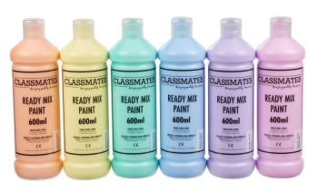 Classmates Pastel Ready Mixed Paint - Assorted - 6 x 600ml - HE1643244 - Pack of 6