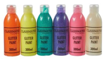 Classmates Glitter Ready Mixed Paint - Assorted - 6 x 300ml - HE1201986 - Pack of 6