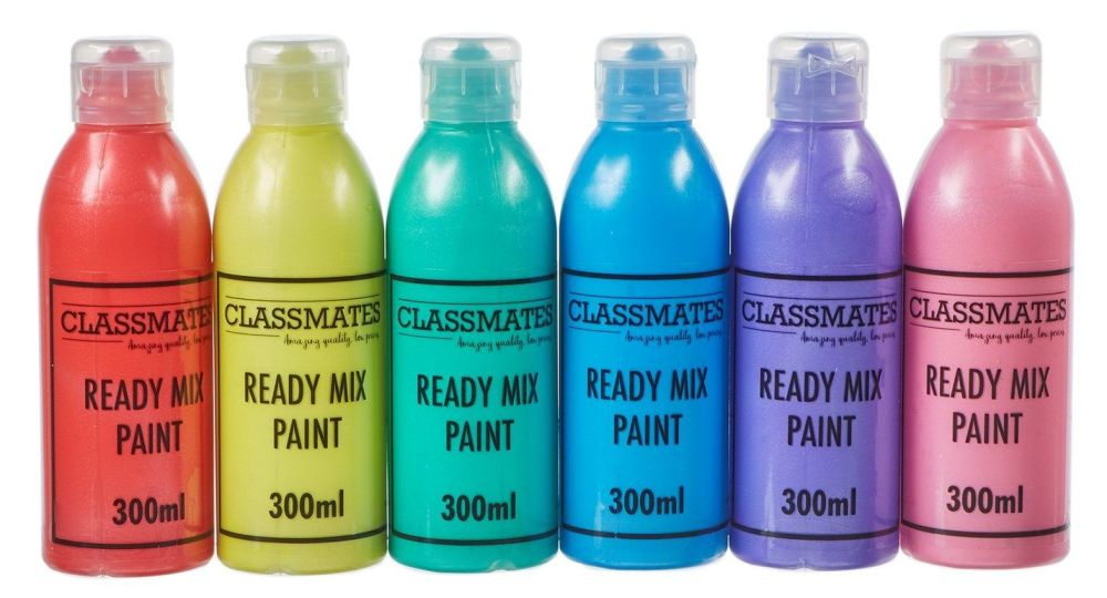Classmates Pearlescent Ready Mixed Paint - Assorted - 6 x 300ml - Pack of 6