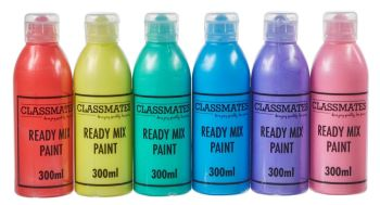Classmates Pearlescent Ready Mixed Paint - Assorted - 6 x 300ml - HE368283 - Pack of 6