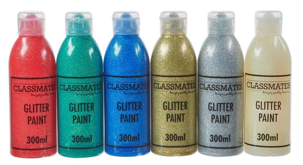 Classmates Standard Glitter Ready Mixed Paint - Assorted - 6 x 300ml - Pack