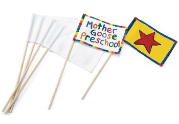 Canvas Flags - Flag measures 10 x 15cm - White - Pack of 12