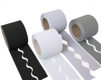 Educraft Monochrome Colours Micro-Flute Scalloped Corrugated Border Rolls - Assorted - 036CORSC4MO - Pack of 8