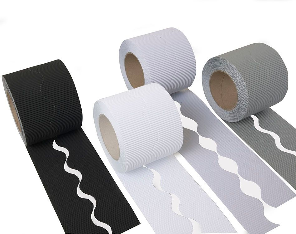 Educraft Monochrome Colours Micro-Flute Scalloped Corrugated Border Rolls -