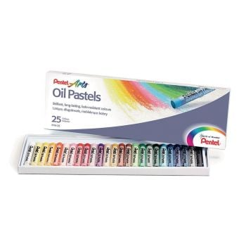 Pentel Arts Oil Pastels - Assorted - Standard Size - Pack of 25