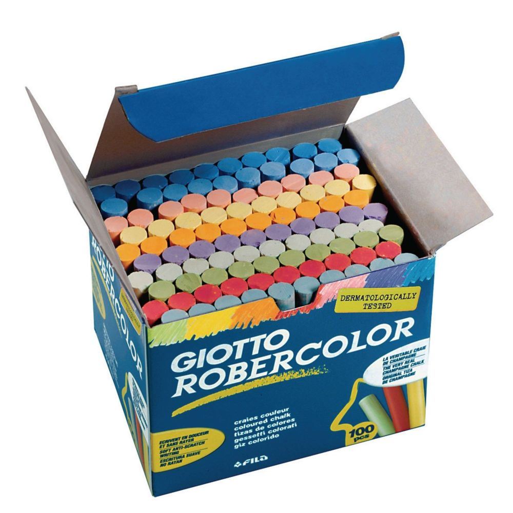 Giotto Robercolor Chalk - Assorted - Pack of 100
