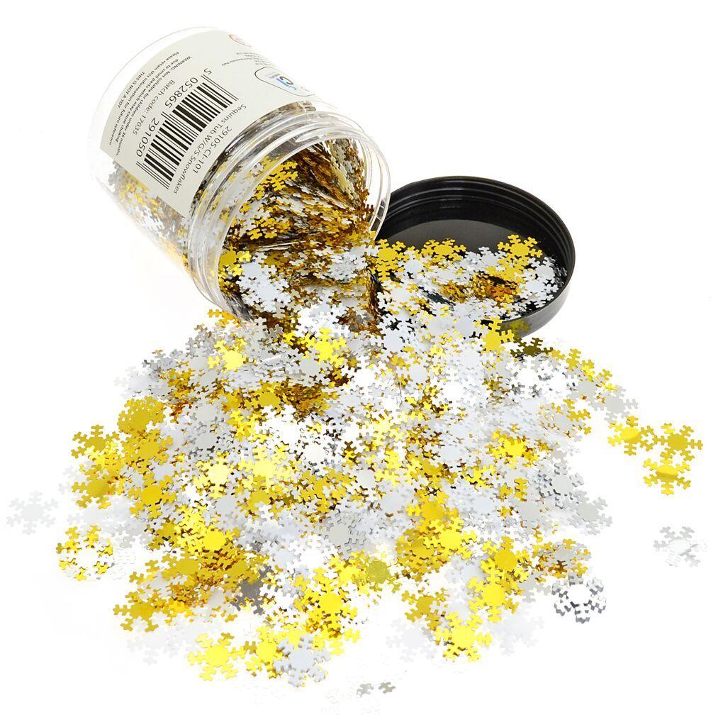White, Gold & Silver Snowflakes - 100g Tub