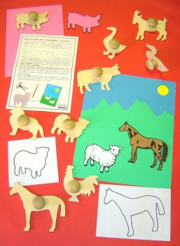 Farm Animal Wooden Templates - Assorted - 14cm - Pack of 9