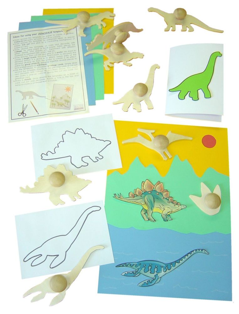 Dinosaur Wooden Templates - Assorted - 17.8cm - Pack of 9