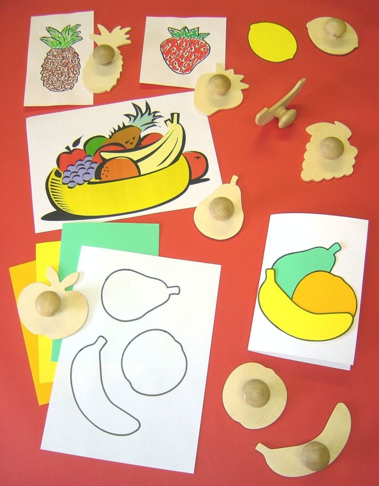 Fruit Wooden Templates - Assorted - 11.5cm - Pack of 9