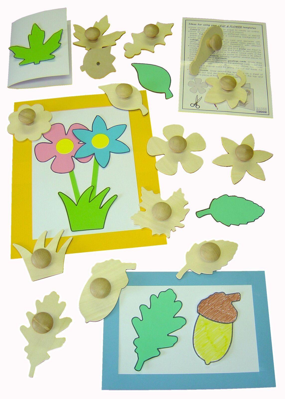 Leaf & Flower Wooden Templates - Assorted - 13cm - Pack of 14