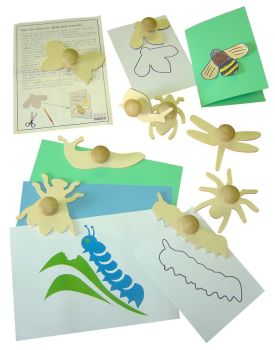 Mini Bugs Wooden Templates - Assorted - 13cm - 1408-9 - Pack of 9