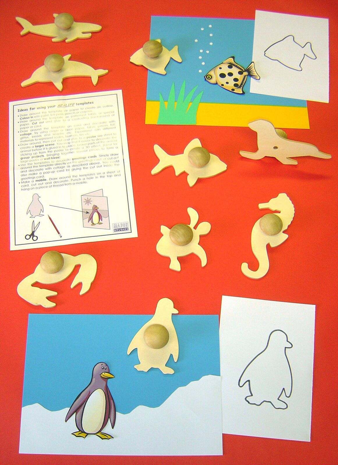 Sealife Wooden Templates - Assorted - 14cm - Pack of 9