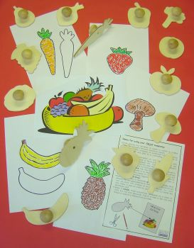 Healthy Eating Wooden Templates - Assorted - 12.4cm - Pack of 9