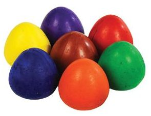 Chubbie Wax Egg Crayons - Assorted - 6cm - HE1344425 - Pack of 6