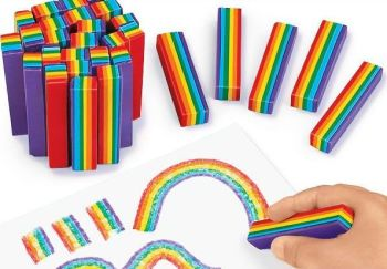 Rainbow Crayons - Assorted - 60 x 12mm - HE1319189 - Pack of 25