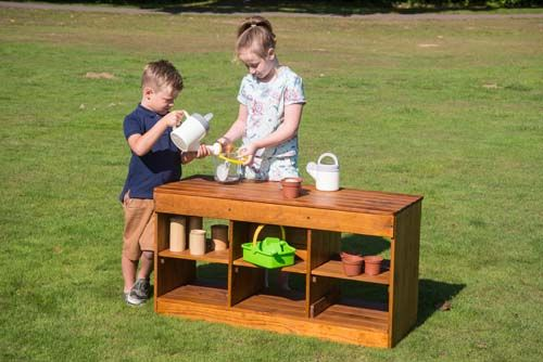 Outdoor Wooden Messy Play Bench Unit - 112 x 43 x 60cms - Each