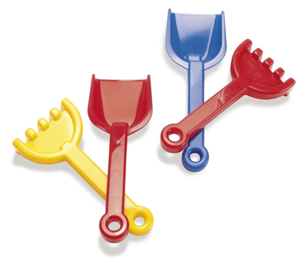 Plastic Sand Shovel and Rake - 24cm - Per Set