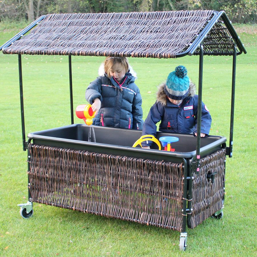 Sand and Water Tray with Wicker Shelter - 140 x 64 x 150cms - Each