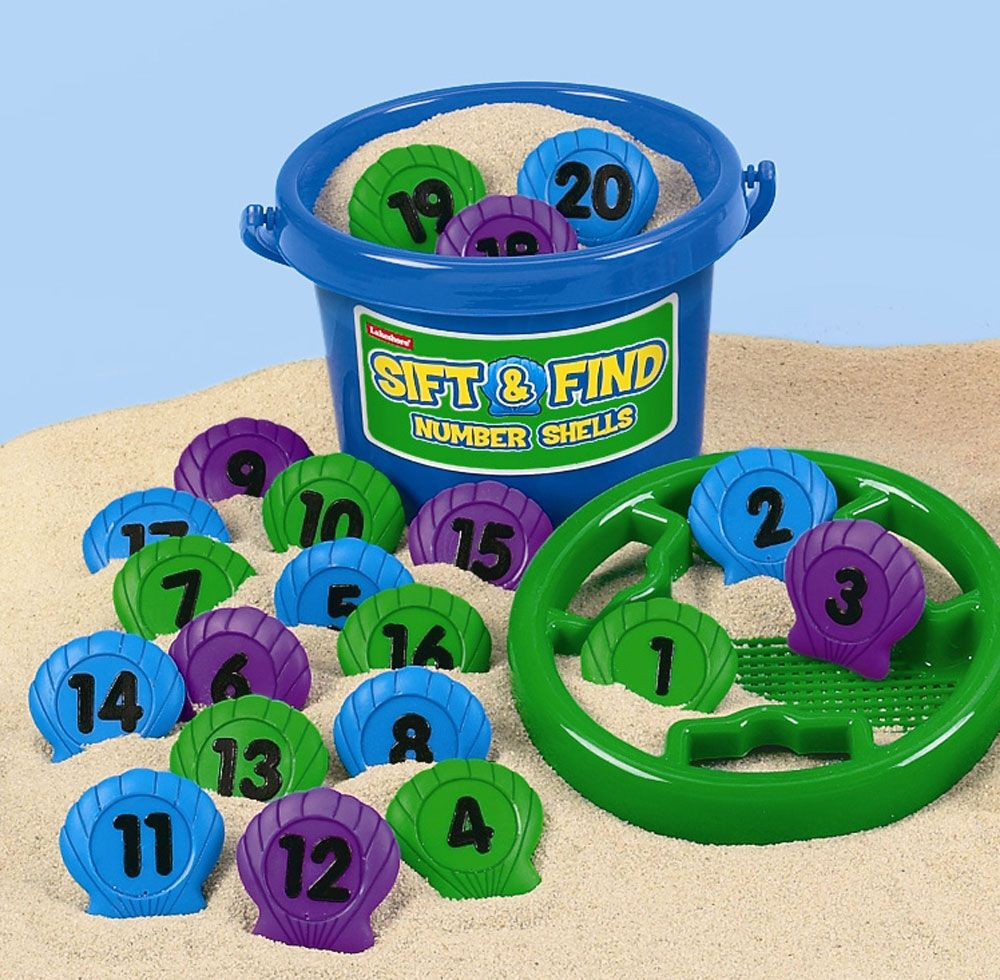 Sift and Find Number Shells with Bucket - Assorted - Per Set