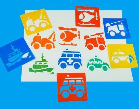 Emergency Services Washable Paint Stencils - Assorted - Pack of 6