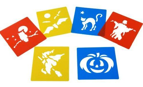 Halloween Washable Paint Stencils - Assorted - Pack of 6