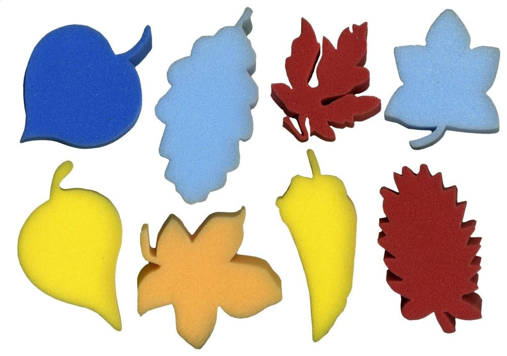 Leaf Painting Sponges - Assorted - 9-12 x 2.5cm - Pack of 8